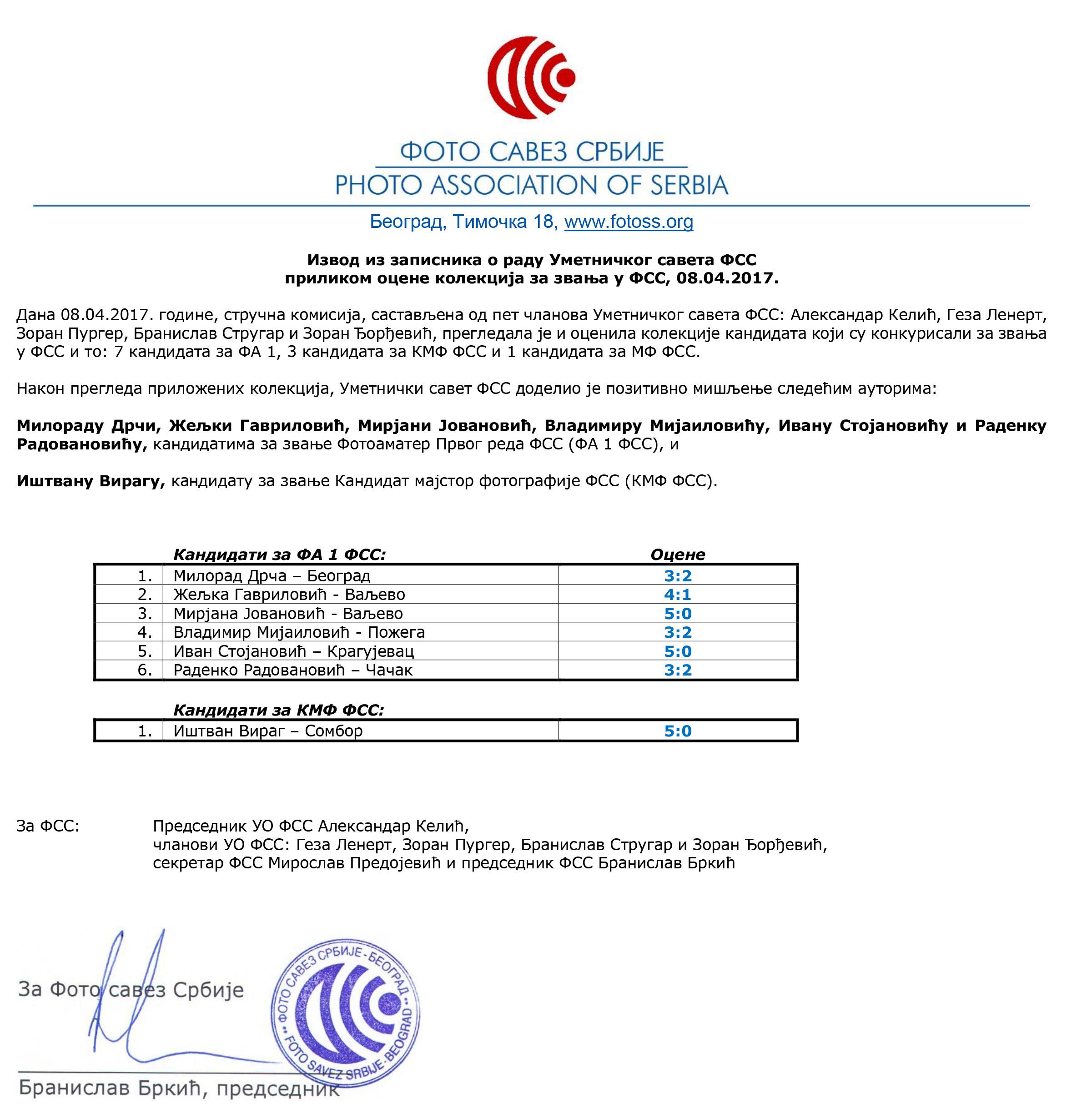 2017-04-08 Rezultati konkursa za zvanja - Pozitivne ocene