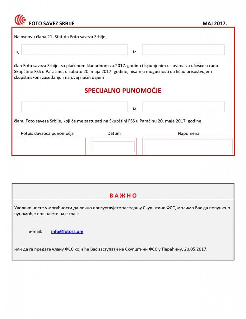 01 Punomocje za Skupstinu FSS 2017 LAT